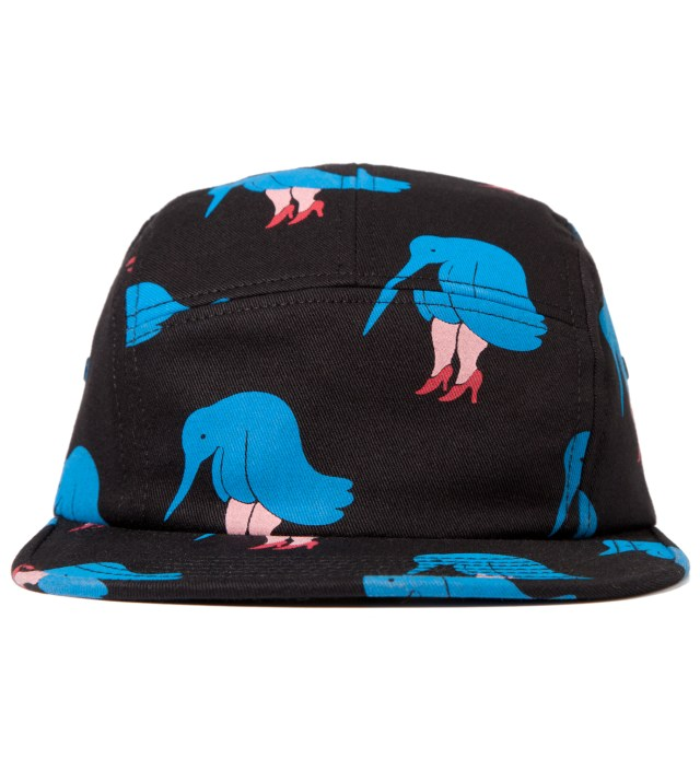 Parra Black 5 Panel Camp Hat Sad Bird Cap