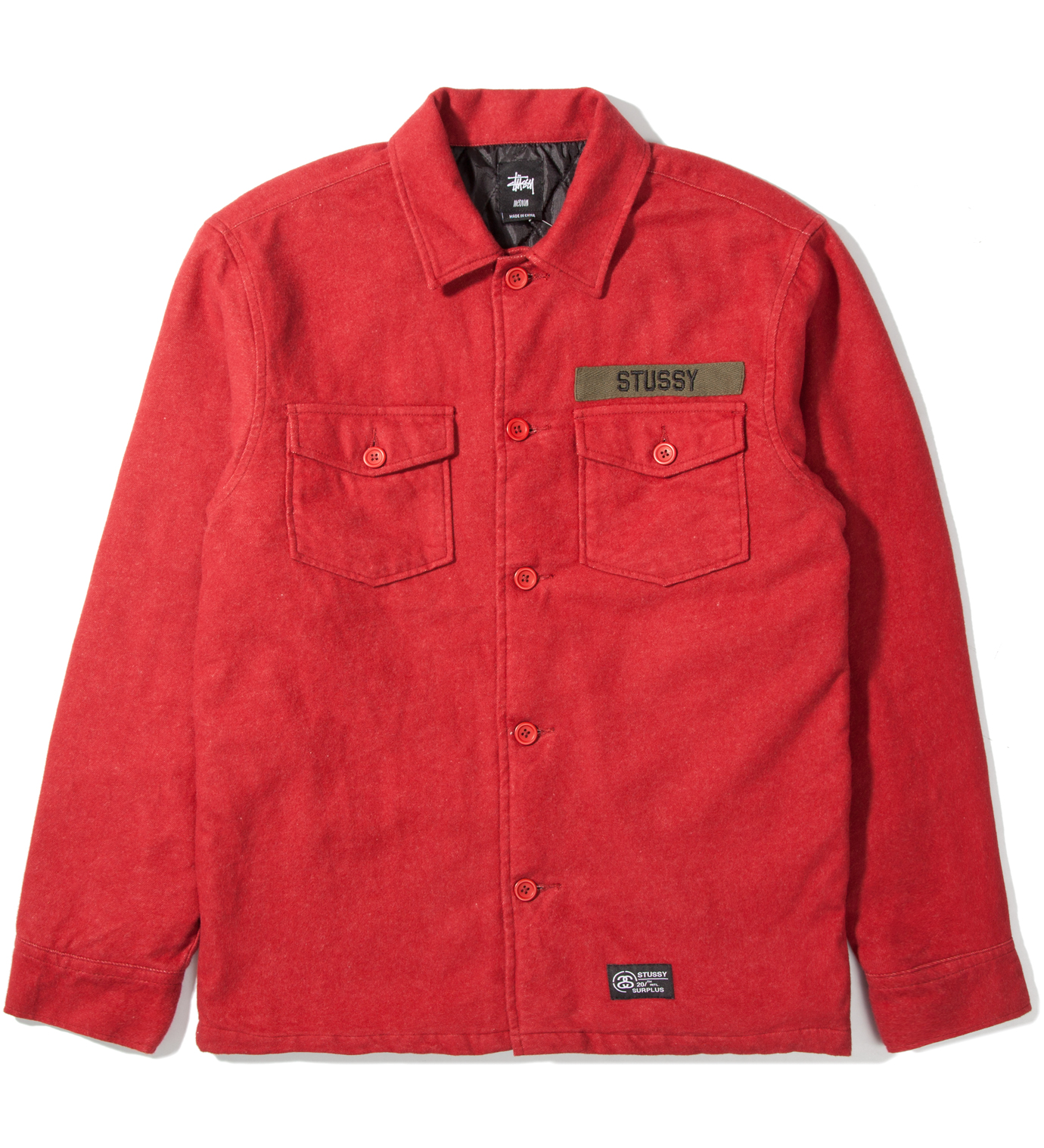Stussy Brick Red Flannel Troops Shirt