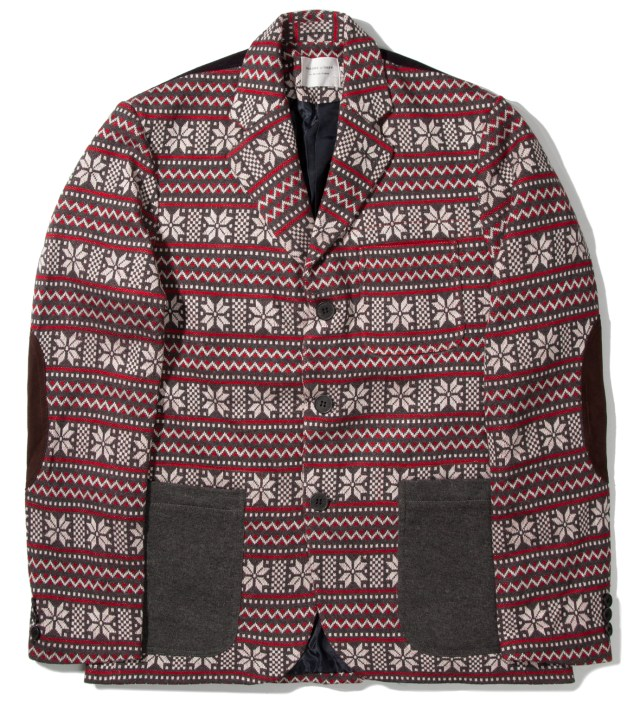 Shades of Grey by Micah Cohen Grey/Red Winter 3 Button Contrast Knit Blazer