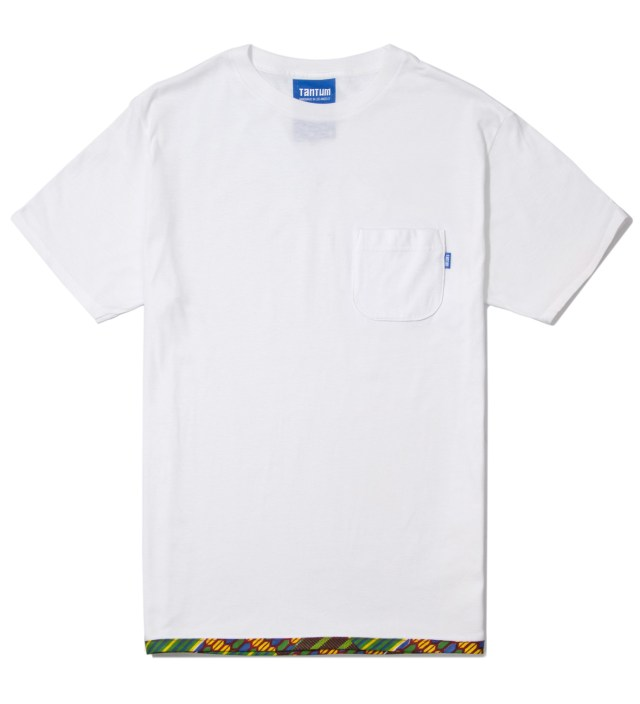 Tantum White Hem Trim African Waxed T-Shirt