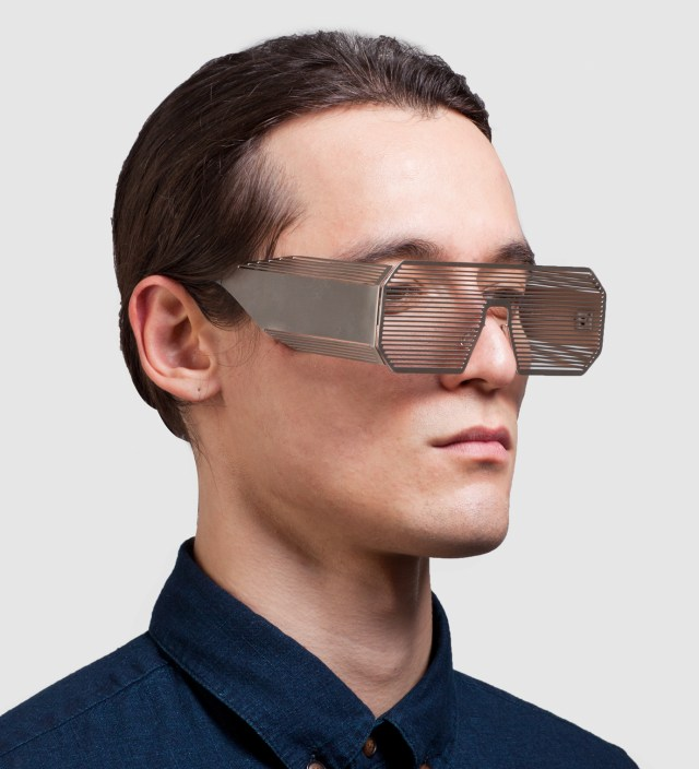 Boris Bidjan Saberi Boris Bidjan Saberi x Linda Farrow Oxidised Matt Silver and Stainless Steel Sunglass