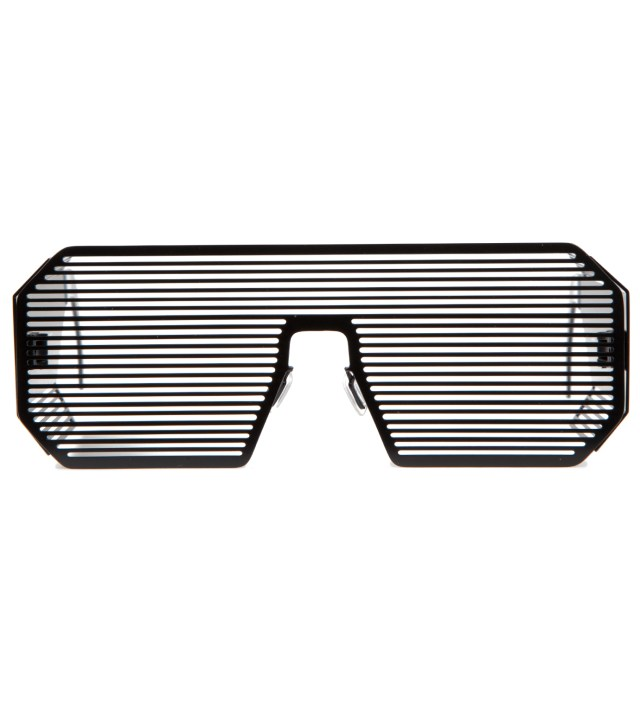 Boris Bidjan Saberi Boris Bidjan Saberi x Linda Farrow Matt Black and Stainless Steel Sunglass
