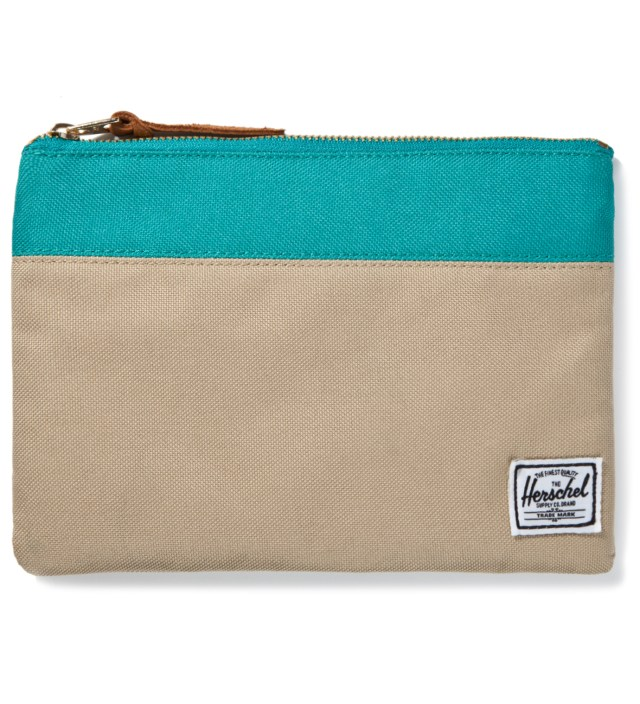 Herschel Supply Co. Khaki/Teal Field Pouch Large