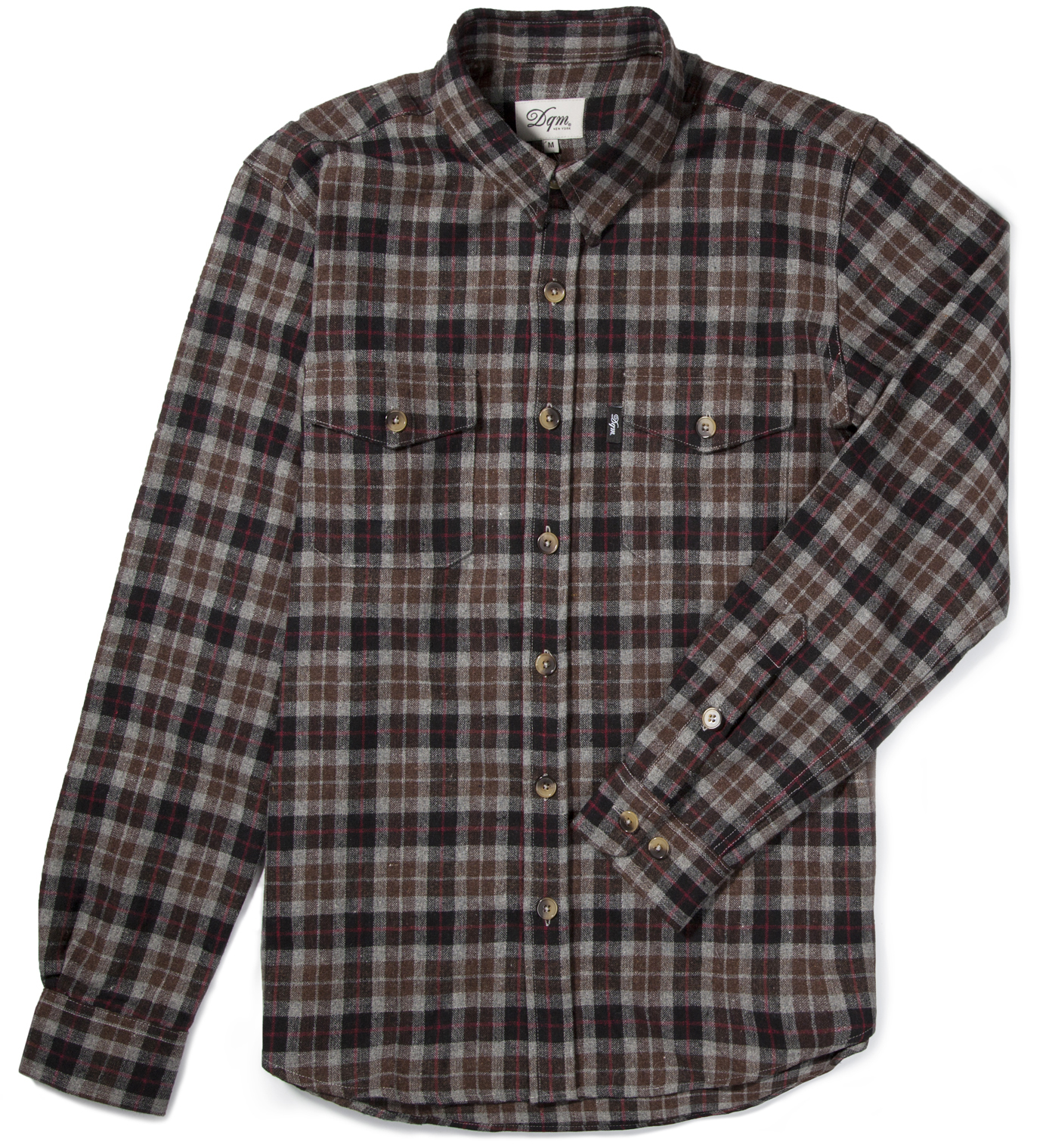 Dqm brown black fishkill plaid wool shirt hbx for Brown and black plaid shirt