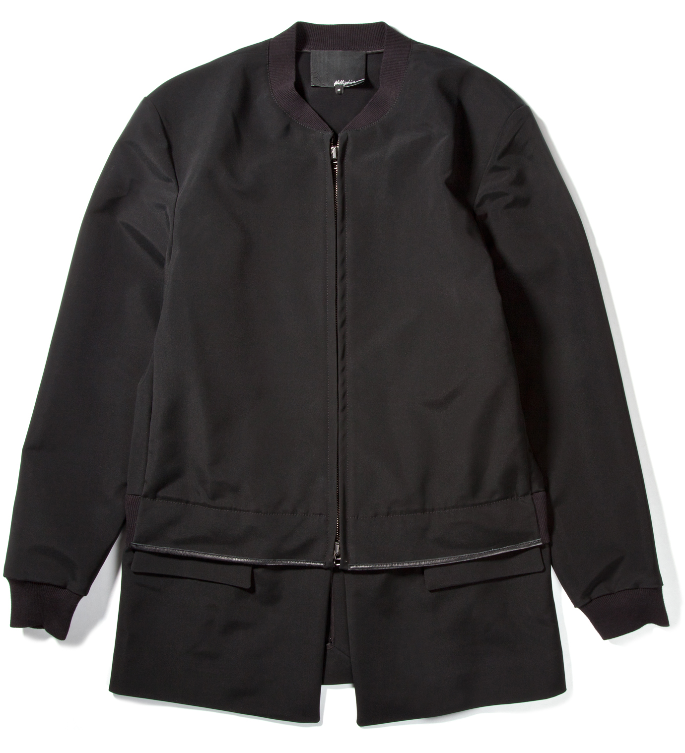 3.1 Phillip Lim Black Zip Front Athletic Jacket with Detachable Panel