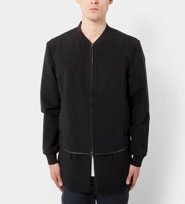 3.1 Phillip Lim Black Zip Front Athletic Jacket with Detachable Panel