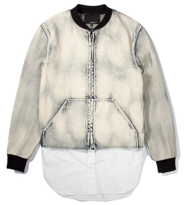 3.1 Phillip Lim Light Indigo Zip Front Athletic Jacket with Detachable Poplin Tail