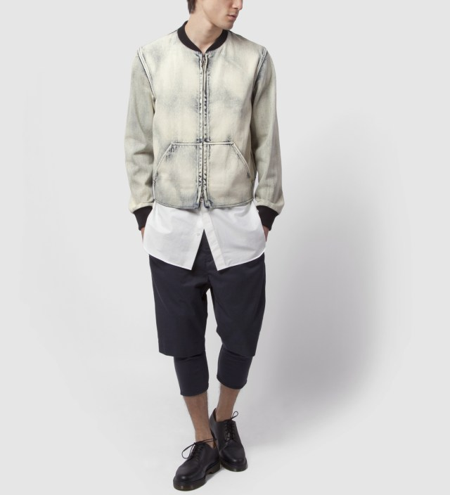 3.1 Phillip Lim Light Indigo Zip Front Athletic Jacket with Detachable Poplin Tail