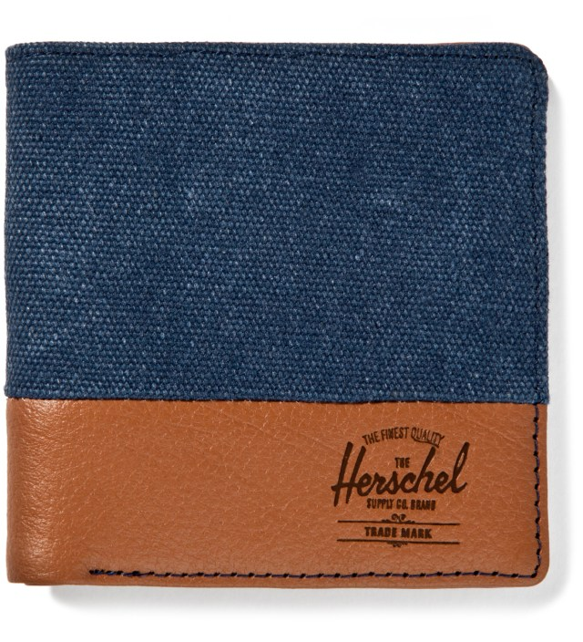 Herschel Supply Co. Washed Navy/Tan Pebble Leather Kenny Wallet