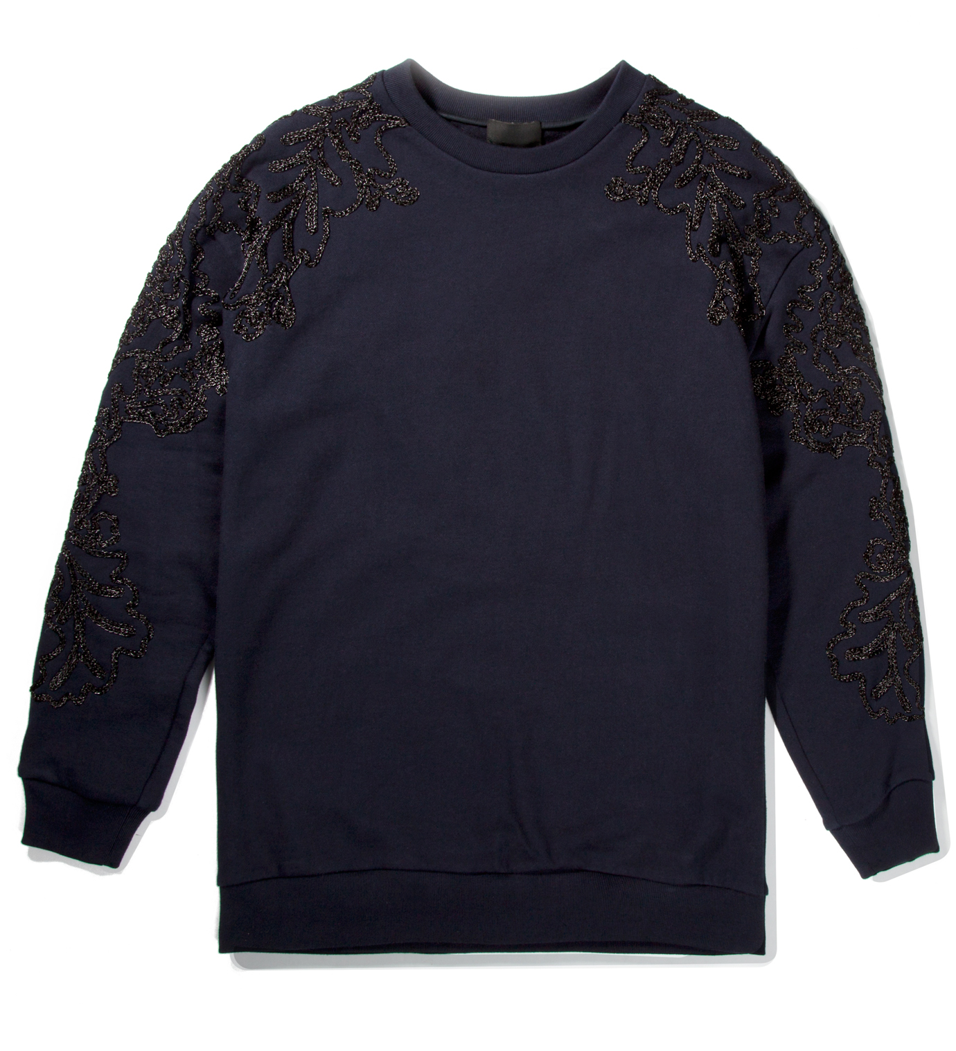 3.1 Phillip Lim Navy Oversized Pullover with Metallic Floral Applique