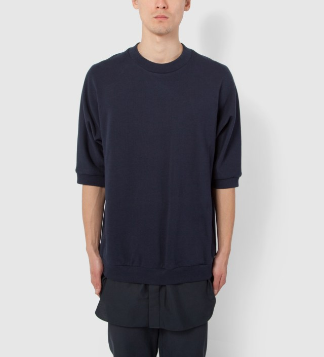 3.1 Phillip Lim Navy S/S Pullover with Poplin Shirt Tail