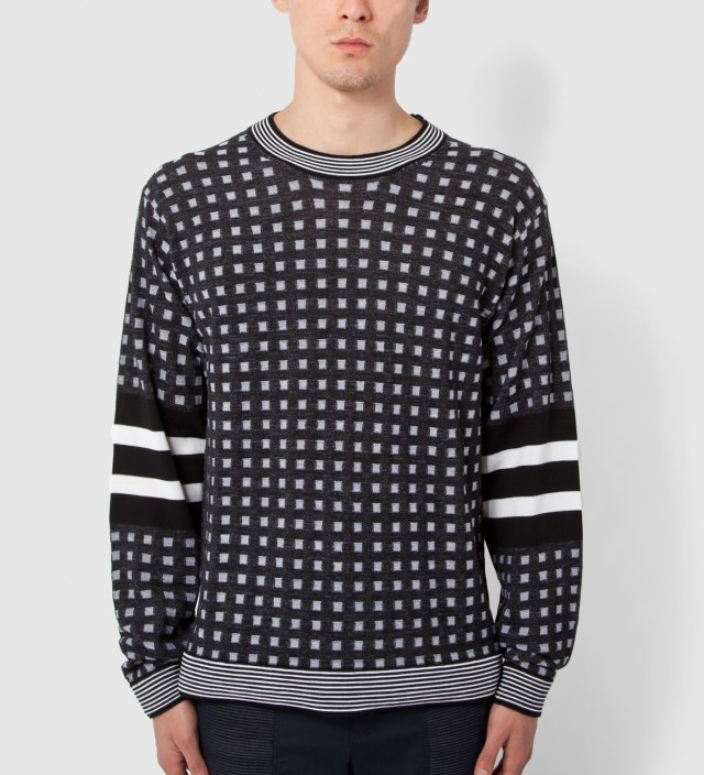 3.1 Phillip Lim Black Classic Fit L/S Crewneck Pullover with Stripe Pattern