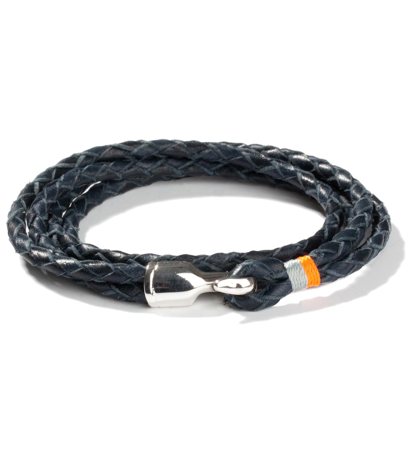 Miansai Navy Blue Trice Silver Bracelet