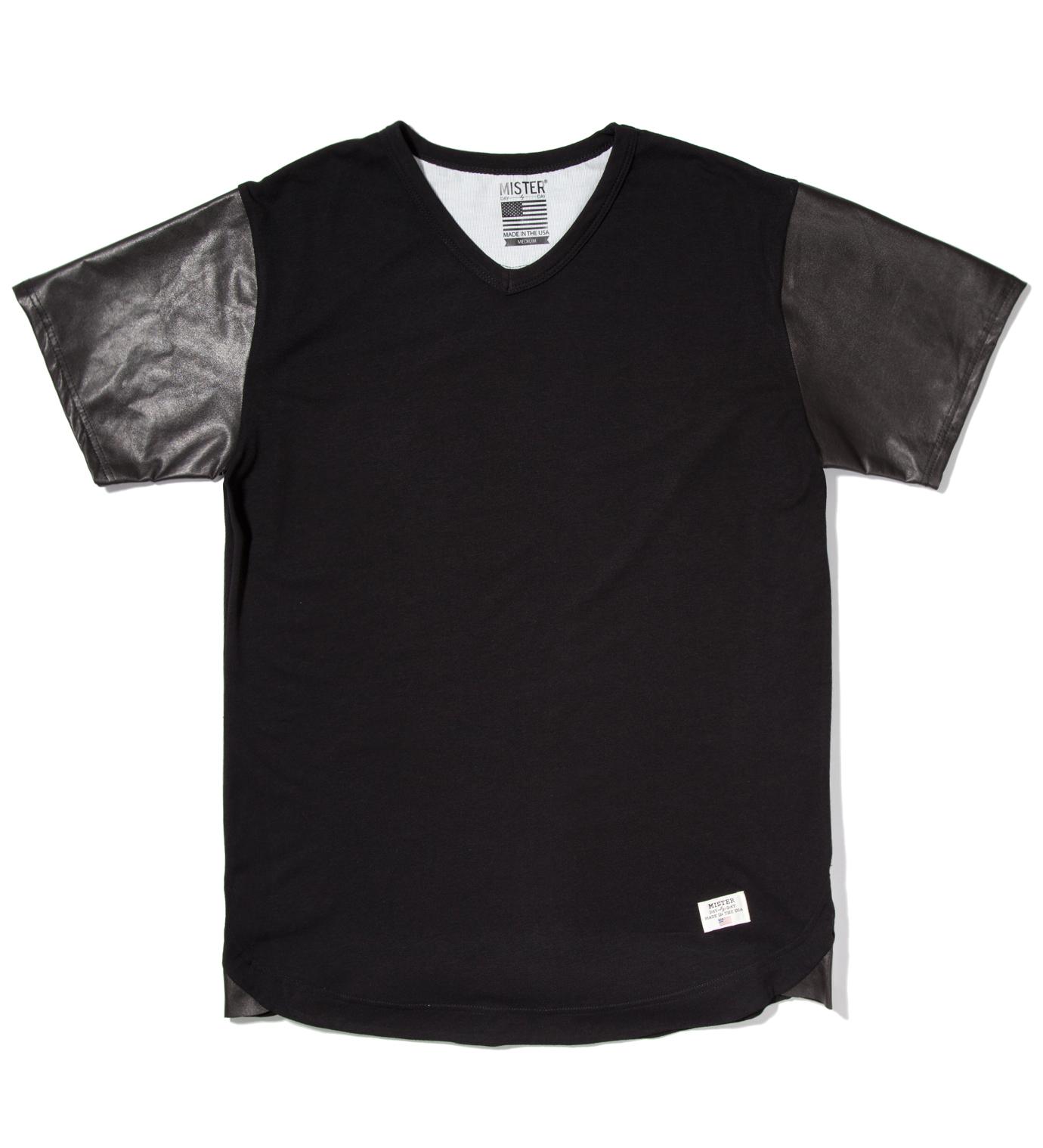 Mister Black Mr. Hide Leather Sleeve V-Neck T-Shirt