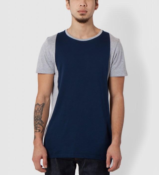 Lou Dalton Grey Marble/Navy Panelled T-Shirt