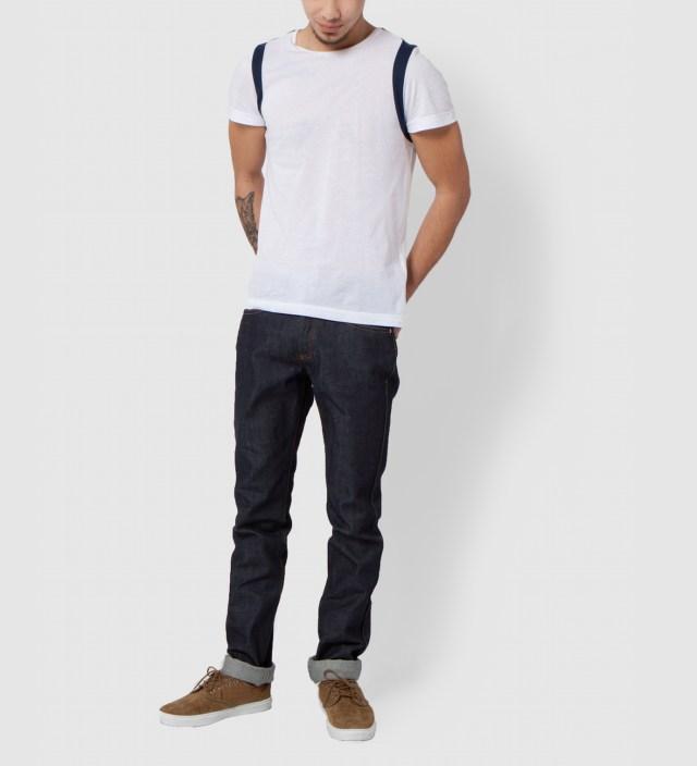 Lou Dalton White/Navy Strap Shoulder T-Shirt