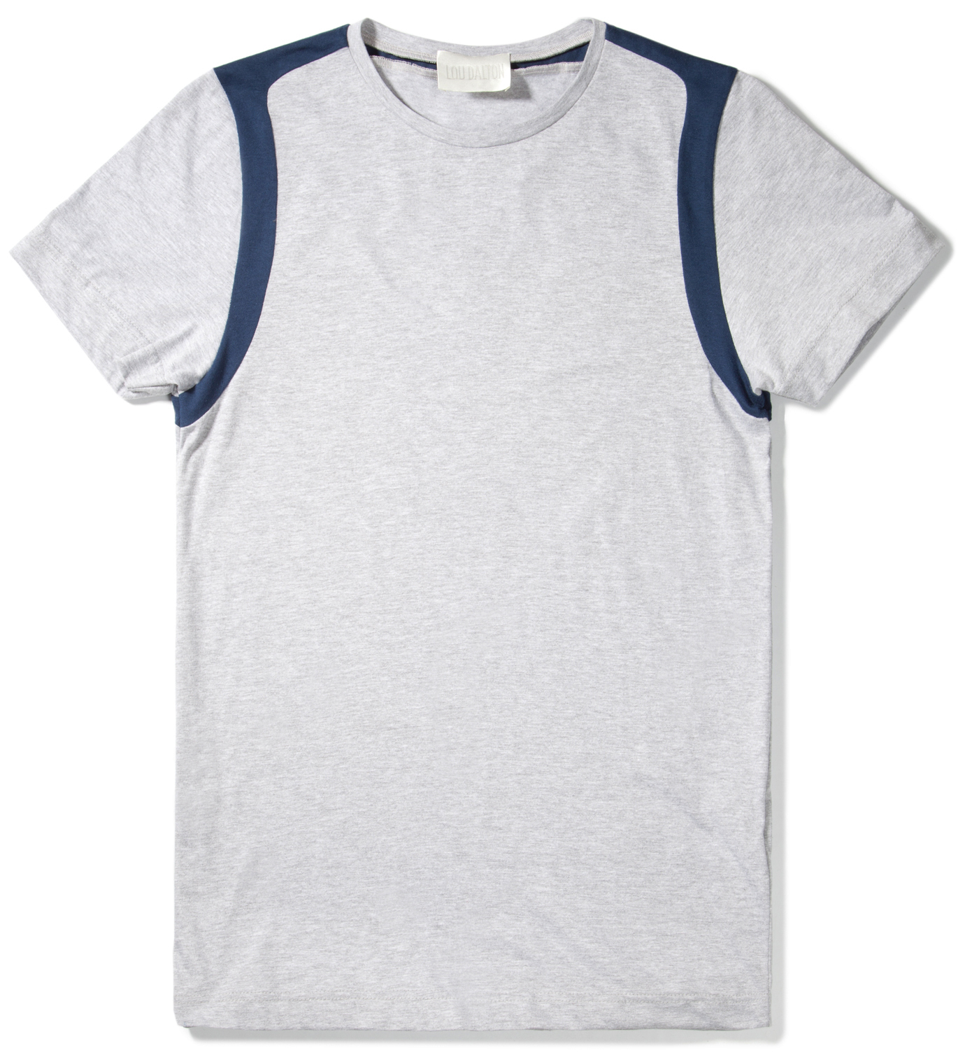 Lou Dalton Navy/Grey Marble Strap Shoulder T-Shirt