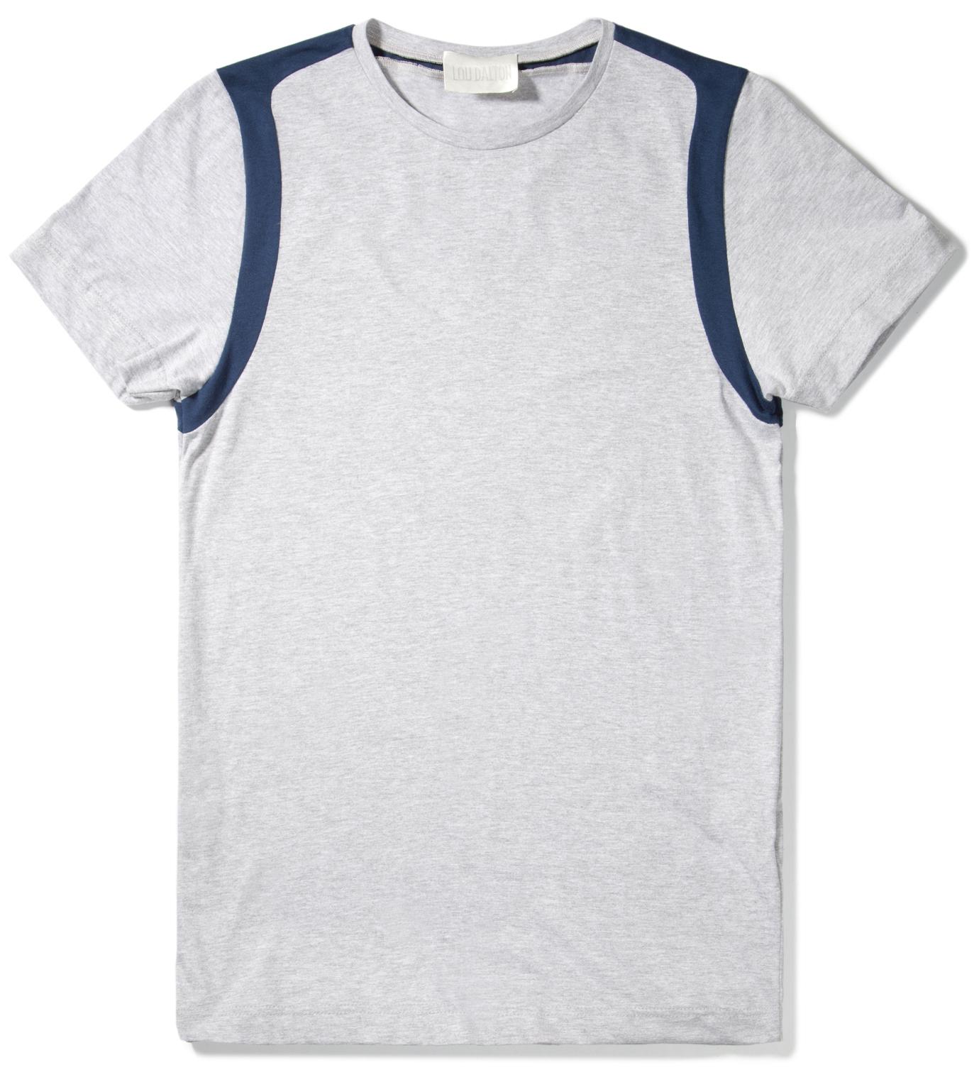 Lou Dalton Navy/Grey Marble Strap Shoulder T-Shirt