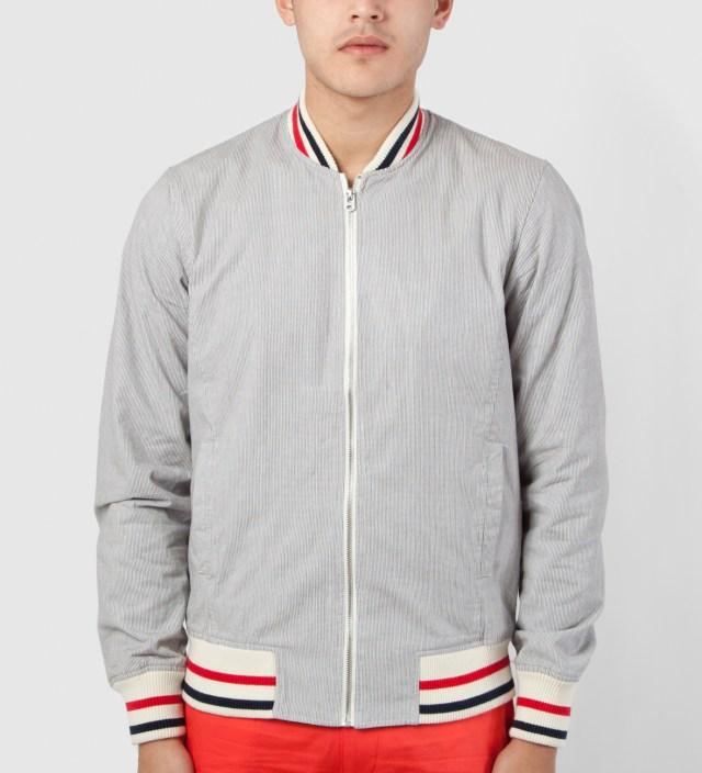 Shades of Grey by Micah Cohen Grey Stripe Varsity Jacket