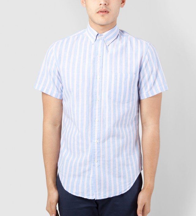 Shades of Grey by Micah Cohen Periwinkle Stripe Oxford Short Sleeve Button Down Shirt