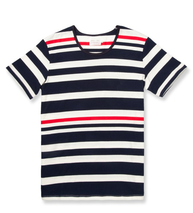 Shades of Grey by Micah Cohen Navy/Red Multi Stripe Low Crewneck T-Shirt