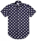 Mark McNairy Navy With White Dot SS Big Dot BD Shirt