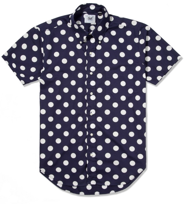 Mark McNairy Navy With White Dot SS Big Dot BD Shirt