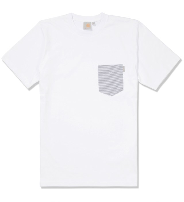 Carhartt WORK IN PROGRESS White/Loft Stripe Blue Counter Pocket T-Shirt