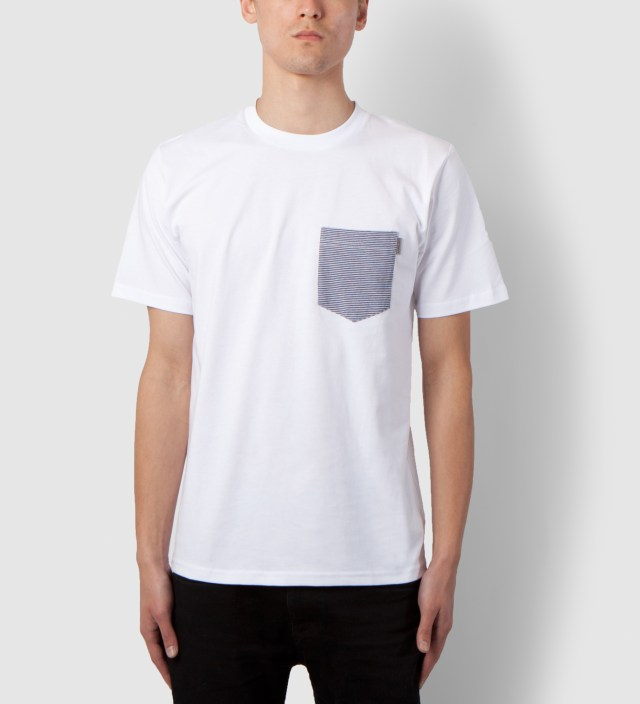 Carhartt WORK IN PROGRESS White/Loft Stripe Blue Counter Pocket T-Shirt