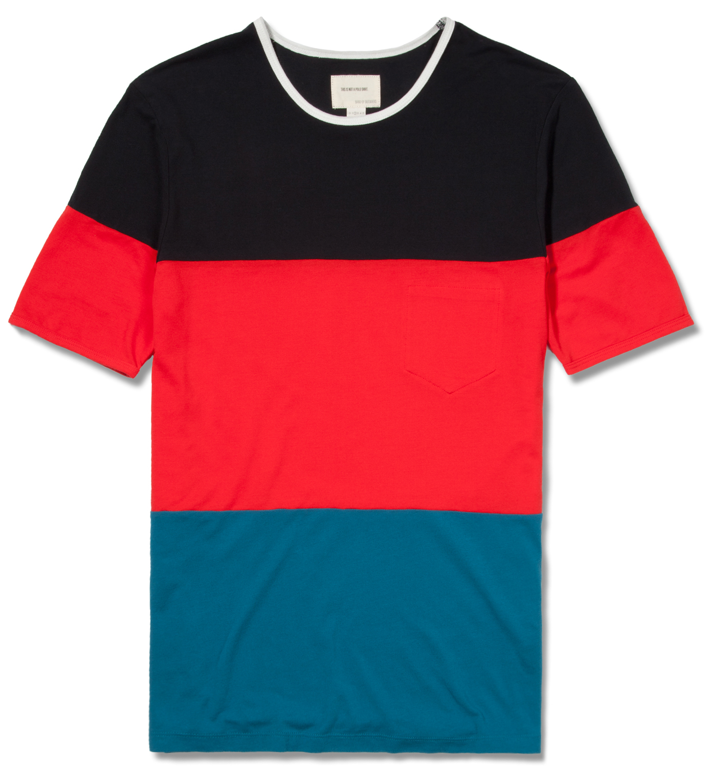 Band of Outsiders Red Pique Color Blocker T-Shirt