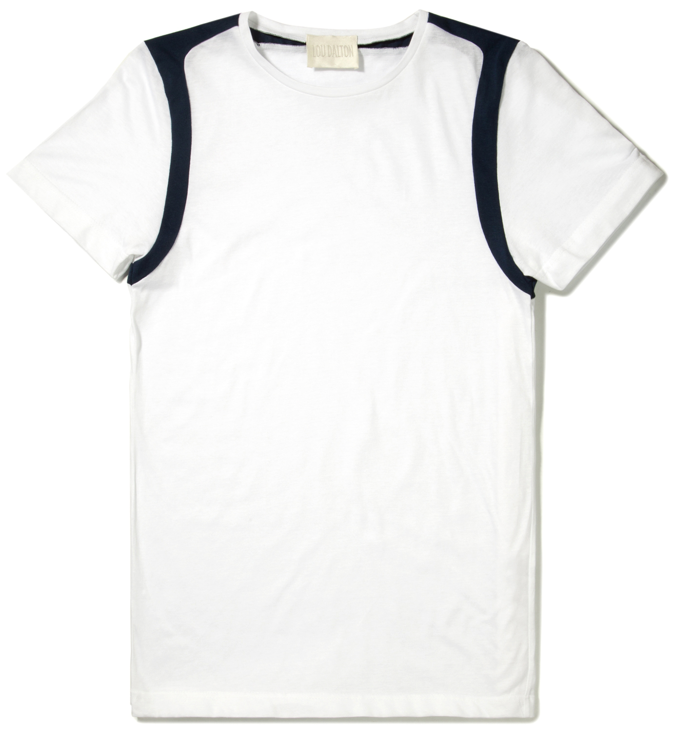 Lou Dalton White/Navy Strap Shoulder T-Shirt
