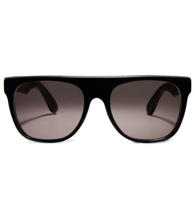 SUPER BY RETROSUPERFUTURE Flat Top Black Leather Sunglasses