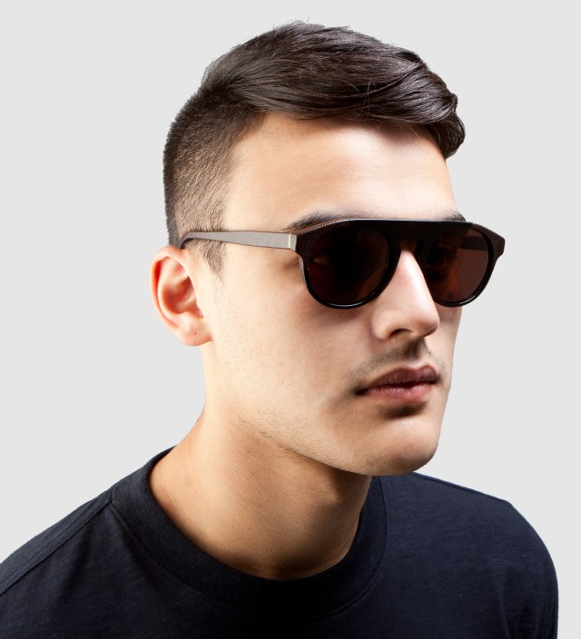 SUPER BY RETROSUPERFUTURE Racer Leather and Acetate Sunglasses