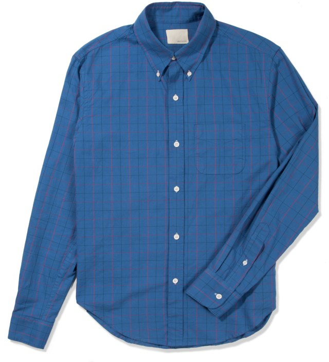 Band of Outsiders Blue Oxford Tattersall Button Down Shirt