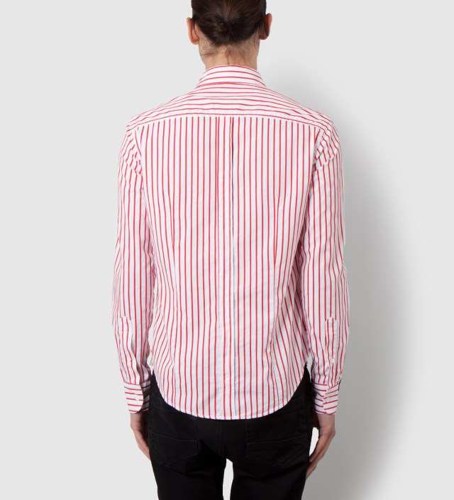 Band of Outsiders Red Bold Dobby Stripe Button Down Shirt