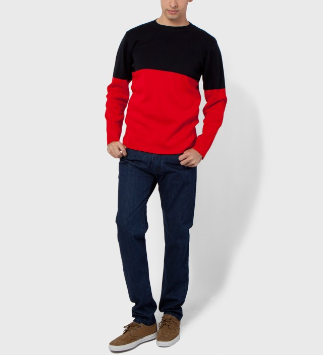 Hentsch Man Navy/Red Marni Block 1 Sweater