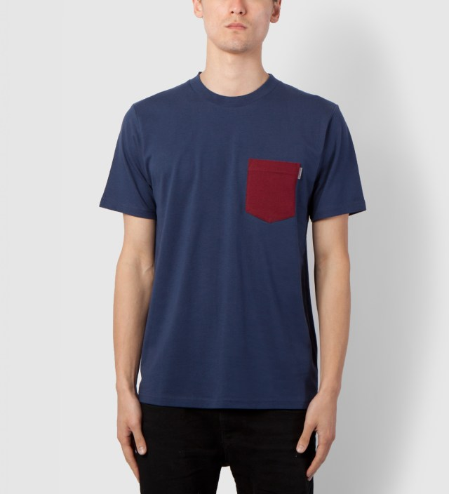 Carhartt WORK IN PROGRESS Blue/Cranberry Contrast Pocket T-Shirt