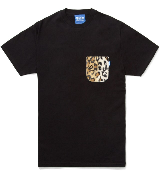 Tantum Black Faux Fur Leopard Pocket T-Shirt