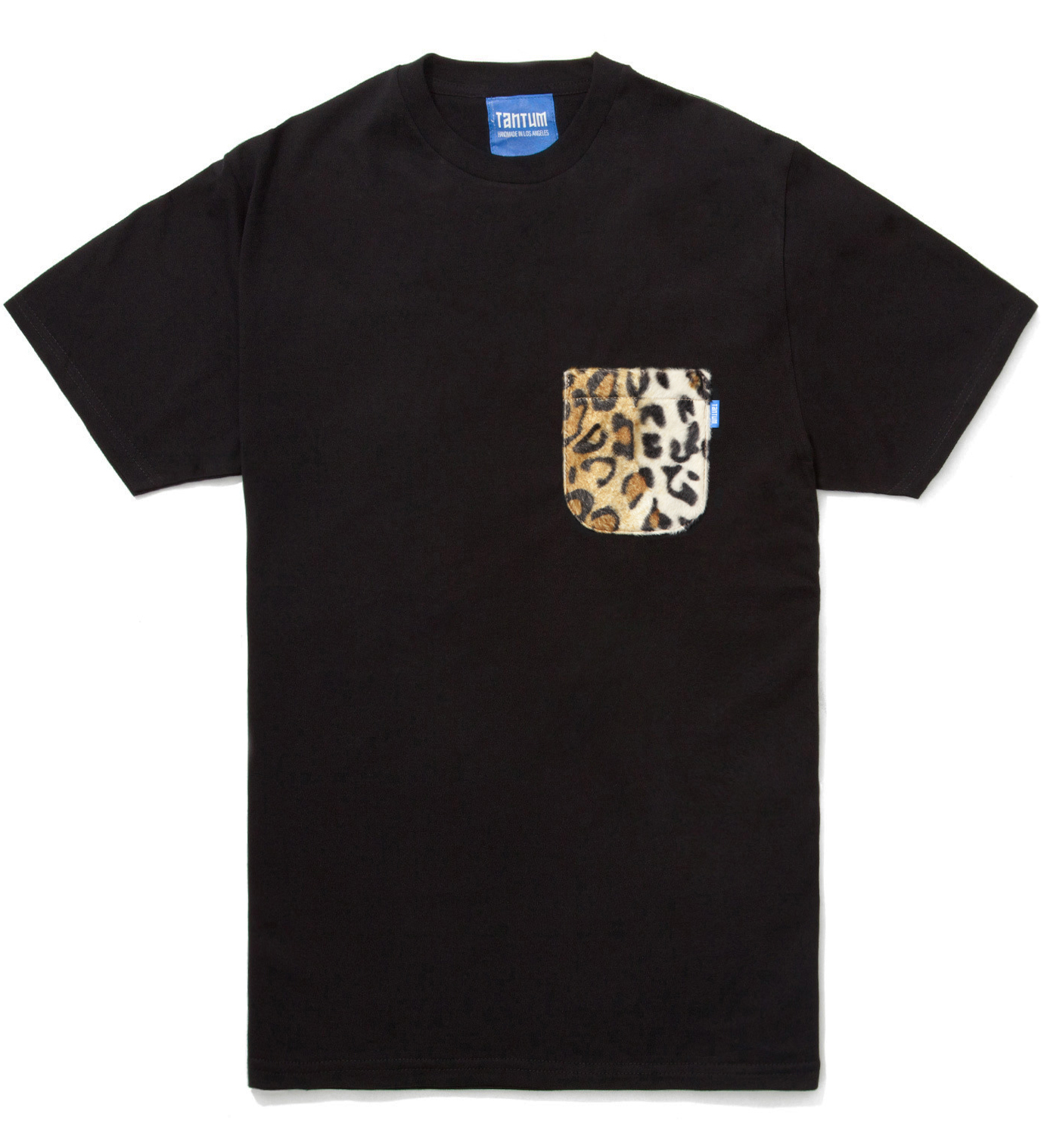 Tantum Black Faux Fur Leopard Pocket T-Shirt