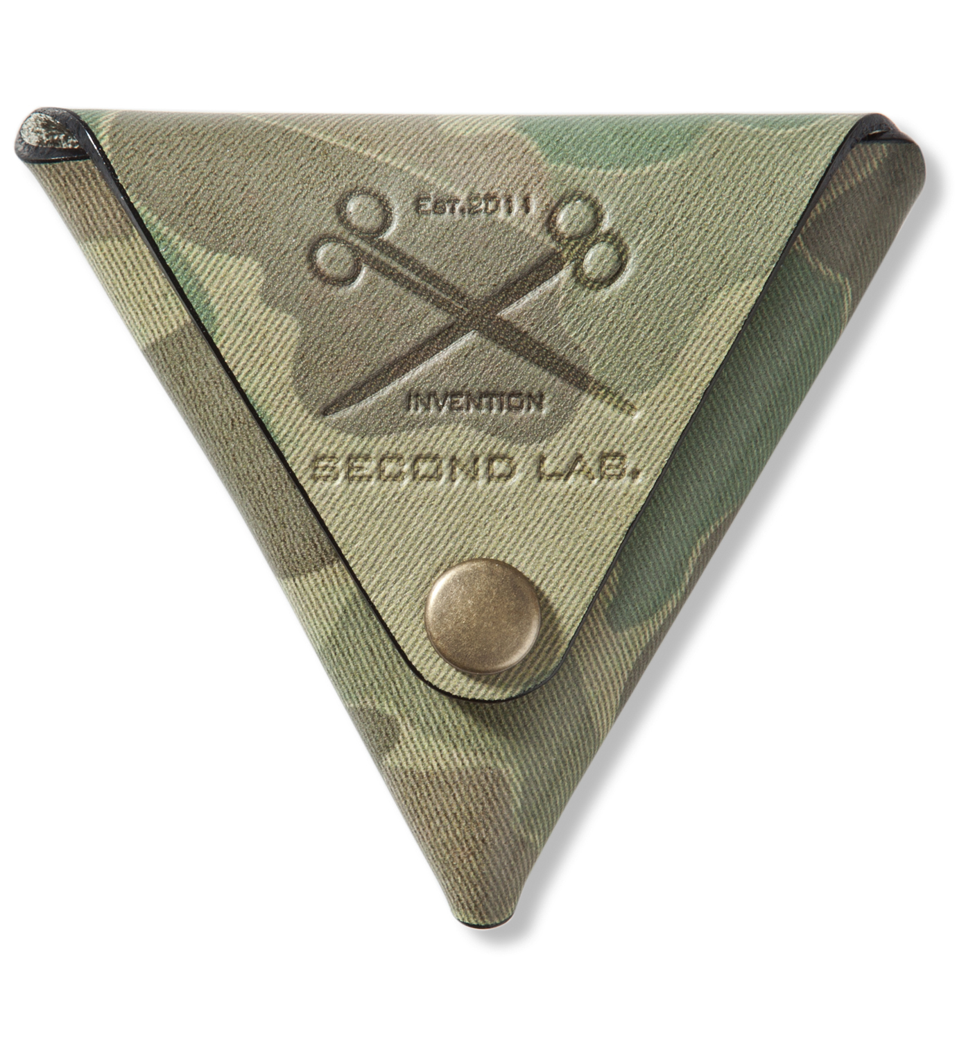 SECOND LAB Camo Triangle Leather Coin Case