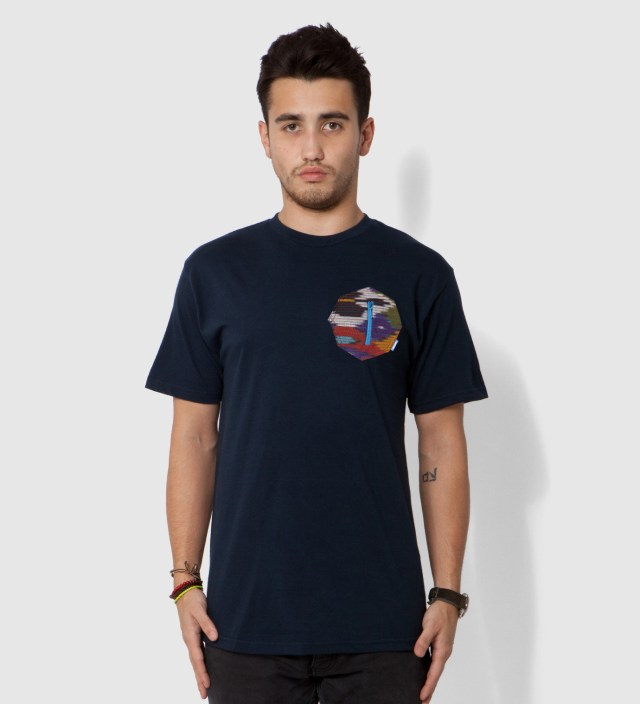 Tantum Navy Blue Ikat 8 Sides Pocket T-Shirt