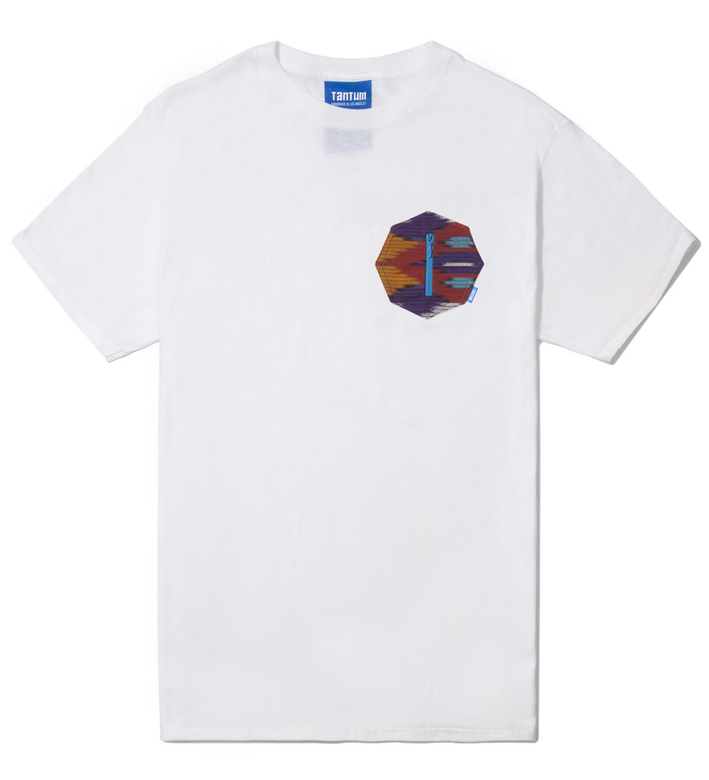 Tantum White Ikat 8 Sides Pocket T-Shirt