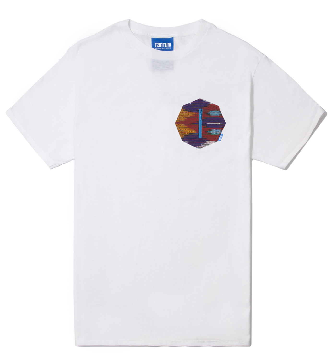 Tantum White Ikat 8 Sides Pocket T-Shirt