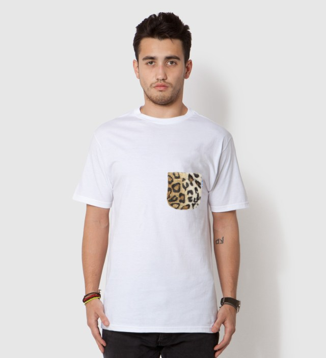 Tantum White Faux Fur Leopard Pocket T-Shirt