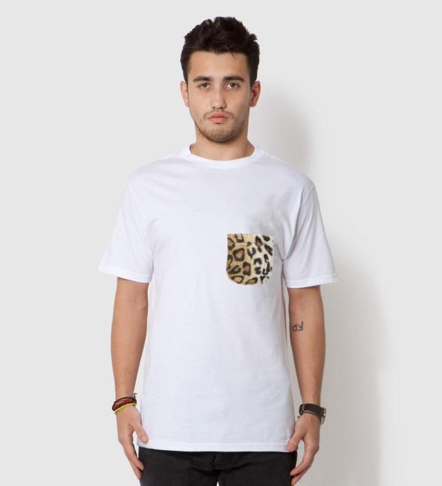 Tantum White Faux Fur Leopard Pocket T-Shirt