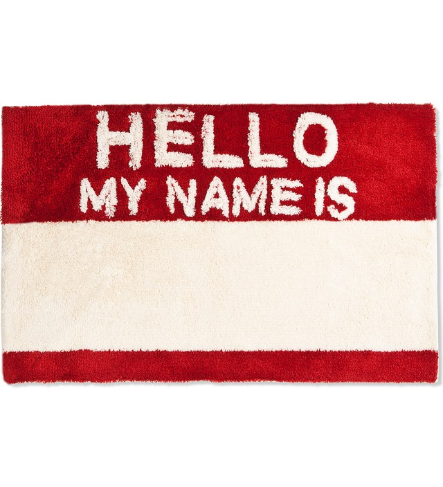 SECOND LAB Red Hello My Name Is Rug