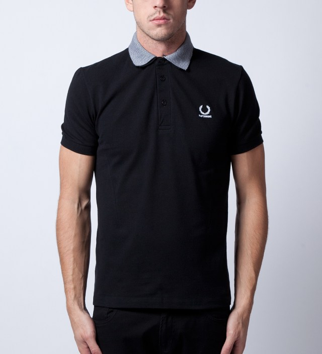 Raf Simons x Fred Perry Black Shirt With Checkerboard Collar Polo