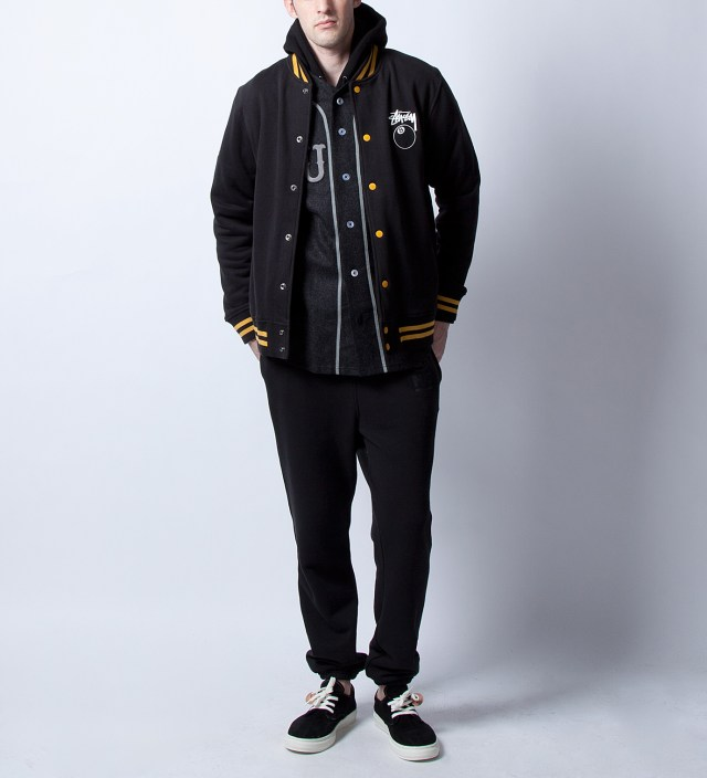 Stussy Black 8 Ball Varsity Jacket