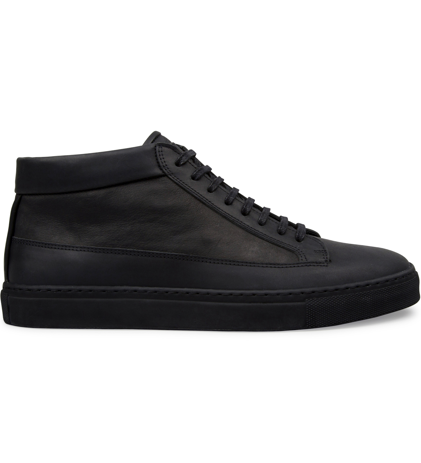 ETQ All Black Waxed Nubuck Mid Top Shoe