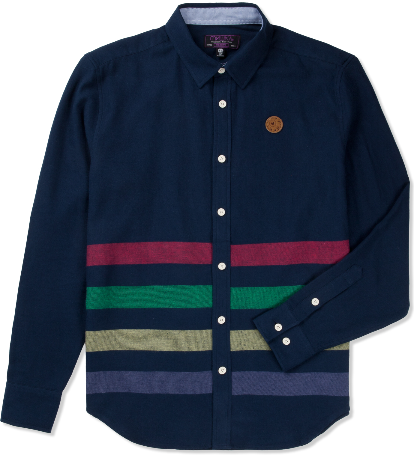 Mishka navy broadway button up flannel shirt hbx for Button up flannel shirts